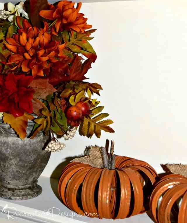 mason jar ring pumpkins and Fall foliage