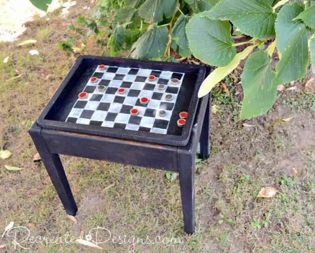 old storage table turned checkerboard bench