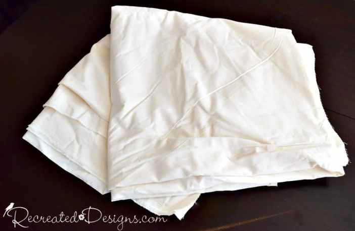 plain Muslin fabric ready to be used to make a DIY tree skirt