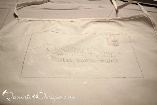 transfering a logo onto a plain apron