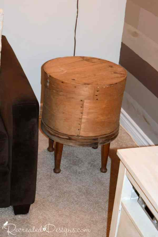 turning an old cheese barrel into a side table with reclaimed legs