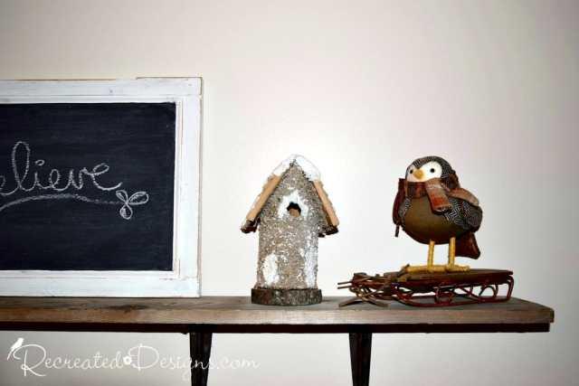 holiday bird and winter bird house