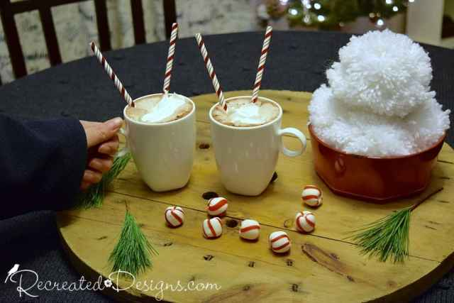 hot cocoa and peppermint candies