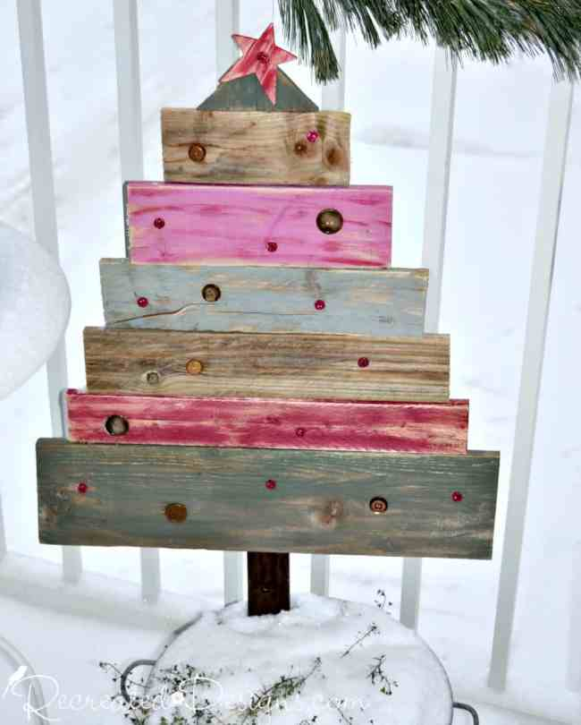 reclaimed wood Christmas tree painted with Fusion Mineral Paint