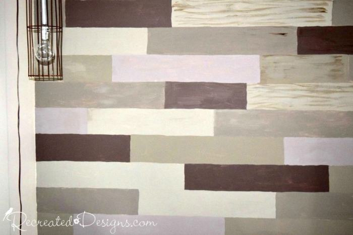 faux painted reclaimed wood plank wall