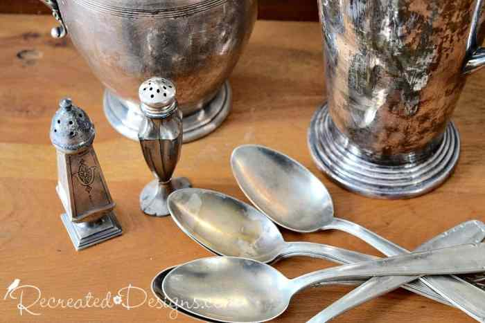 silverplated spoons, shakers and jugs