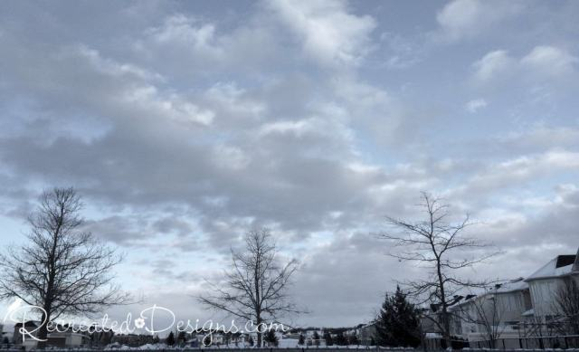 a grey winter sky in Canada