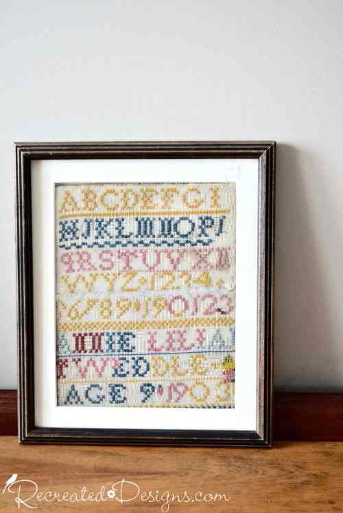 very old framed Sampler Annie Lilian Tweddle 1903