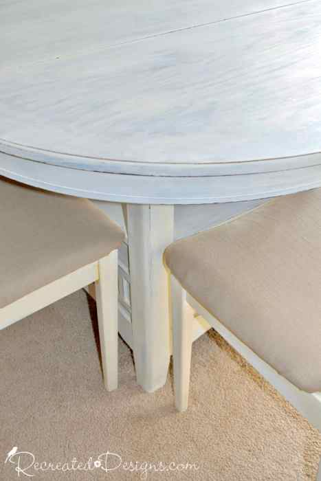 a dining table and chairs painted with Homestead House Milk Paint in Limestone