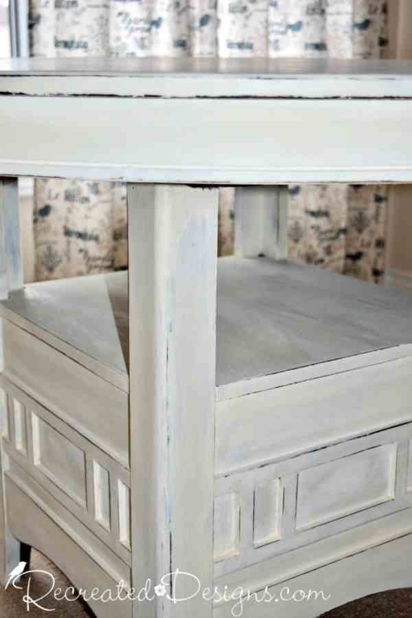 solid wood table painted in Homestead House Milk Paint in Limestone