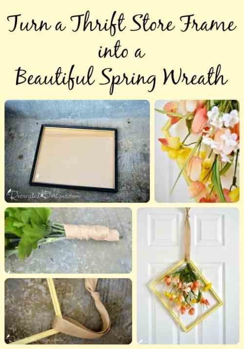 Turn a thrift store frame into a beautiful yellow Sring picture frame wreath