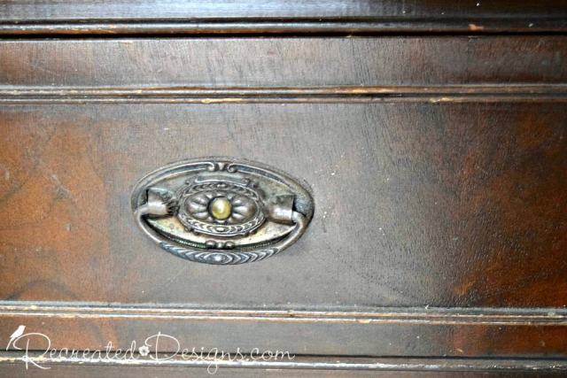 beautiful vintage hardware on old buffet