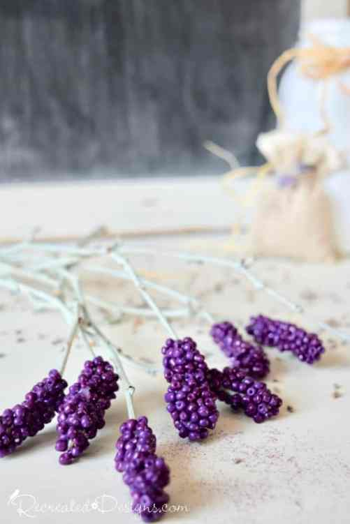 purple beads turned into lavender stems