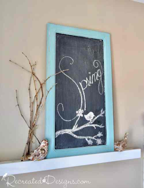 kitchen cabinet door made into a chalkboard