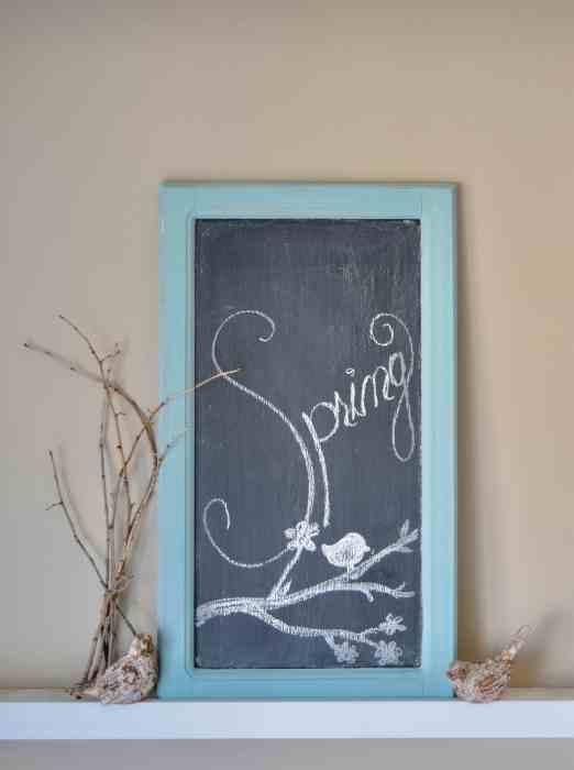 kitchen cabinet door turned diy chalkboard painted with Homestead House Milk Paint in Laurentien