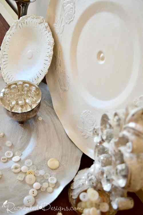 painted silver plates in cream