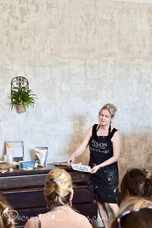 Lori Pringle giving demo on raised stenciling