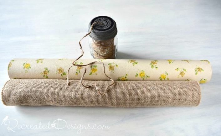 use vintage wallpaper and burlap to make reversible bunting
