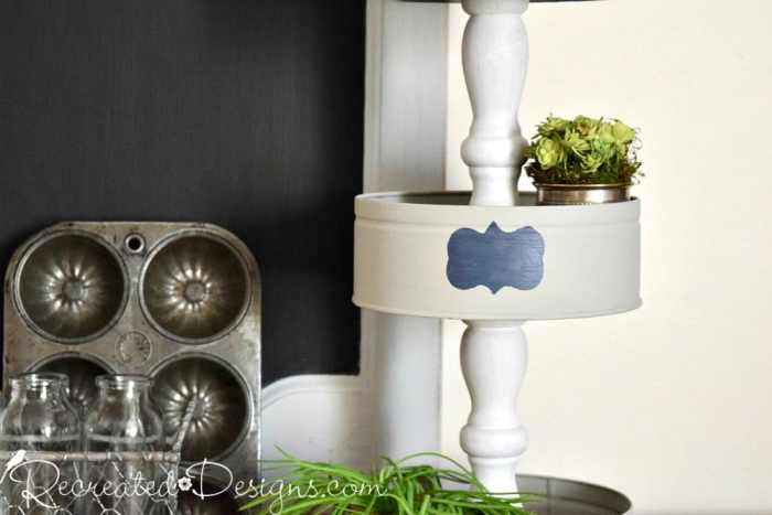 using reclaimed spindles to make a DIY tiered stand