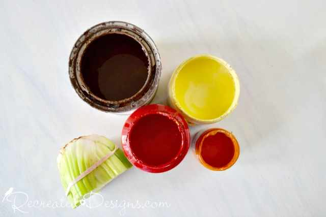 fall paint colours in brown, yellow, red and orange