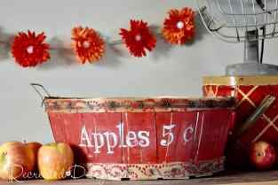 vintage picking basket recreated with paint and a plastic doily