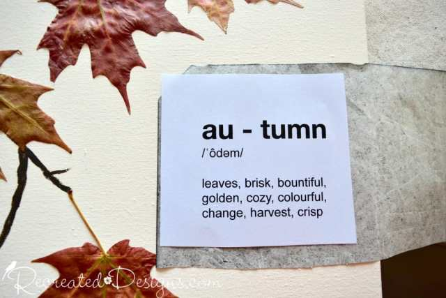 Tracing autumn words onto Fall Art with Graphite Paper