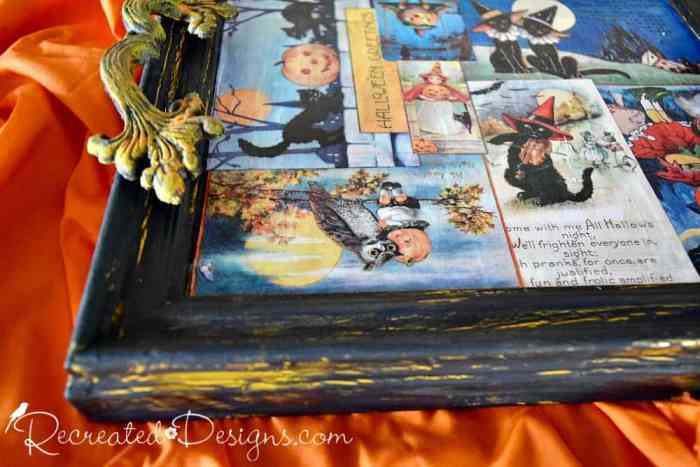 vintage inspired images decoupaged onto reclaimed frame