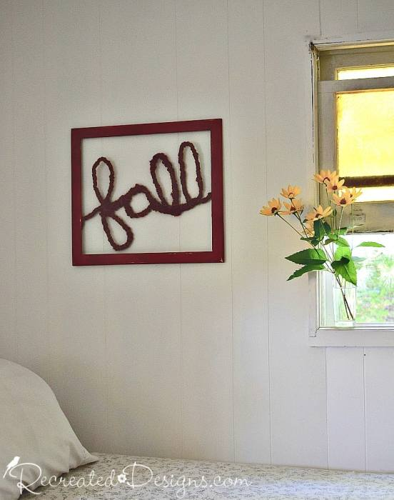 Fall word art cottage wall