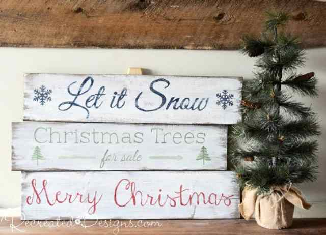 Wood signs for Christmas painted with Miss Mustard Seed Milk Paint