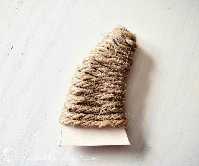 pumpkin stem made from cardboard and jute rope