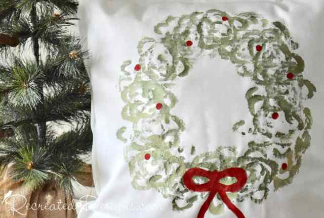 Christmas wreath pillow using milk paint and celery