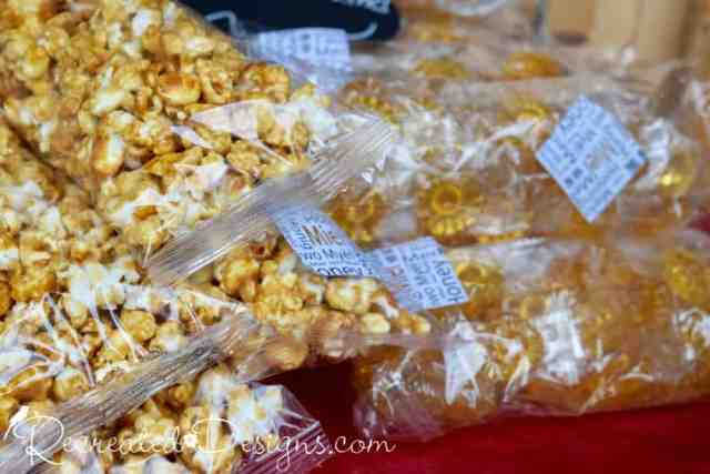 honey candies and popcorn