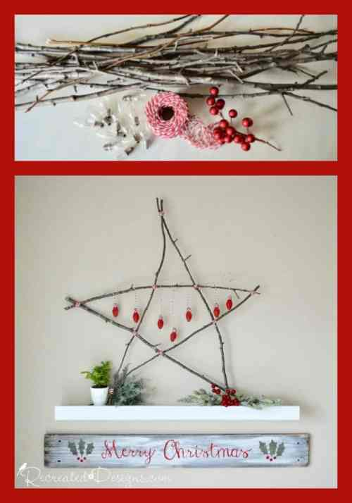 Make a Scandinavian Christmas star with twigs