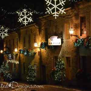 cobblestone street at Christmas in Old Quebec City, Canada