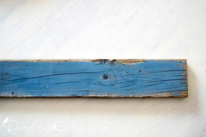 reclaimed wood painted with Miss Mustard Seed Milk Paint in Flow Blue