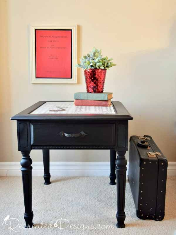 black table painted with Fusion Mineral Paint in Coal Black with a Envirotex Lite resin top