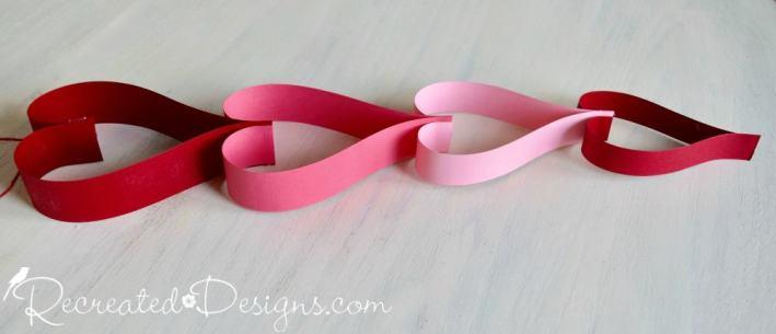 paper heart Valentine garland by Recreated Designs