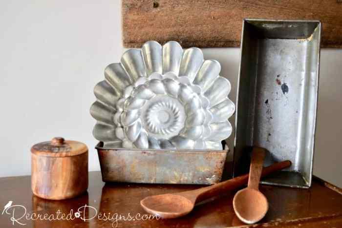 vintage and worn kitchen wares found while picking