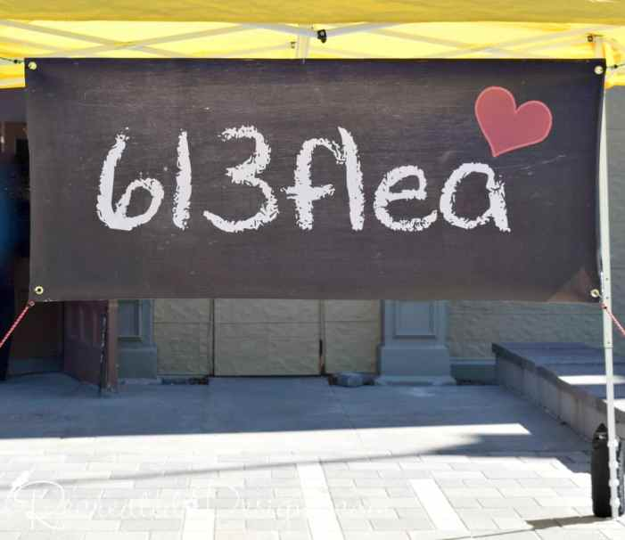 613 flea sign outside of the Aberdeen Pavilion in Ottawa, Ontario, Canada