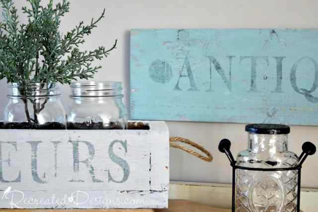 rustic sign and flower box painted with Milk Paint and stamped with IOD stamps
