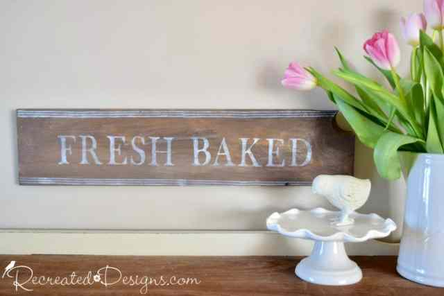 sign stained with Milk paint and stamped with IOD decor stamp