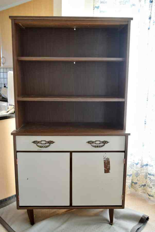 Mid Century Modern hutch before begin turned into Farmhouse Hutch