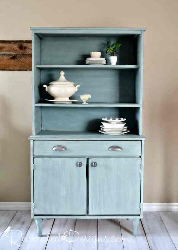 Mid Century Modern Hutch upcycled into pretty Farmhouse hutch with paint and new hardware