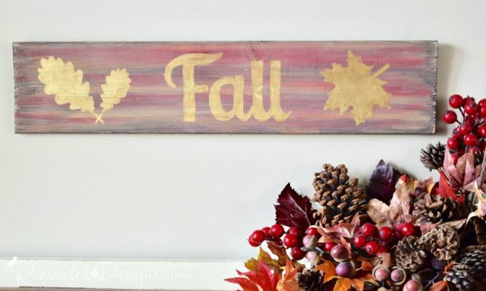 hand painted Fall sign milk paint and metallics