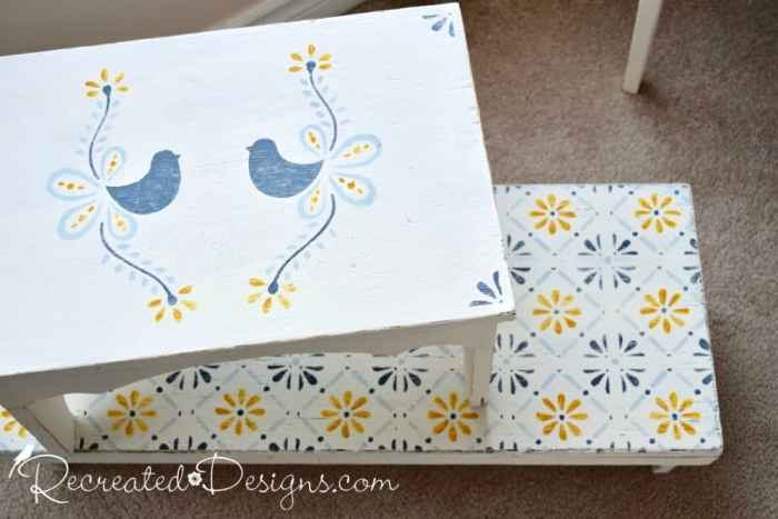vintage benches painted with Fusion Mineral Paint and Dala Muses stencils