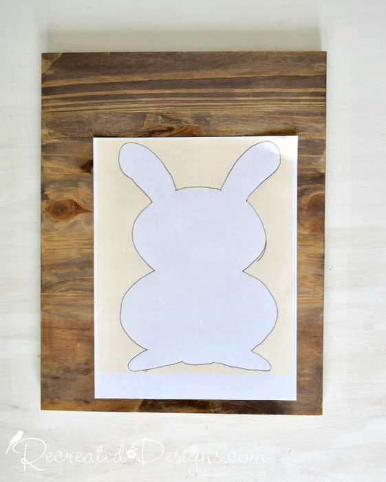 transferring a Recreated Designs bunny pattern to a piece of wood