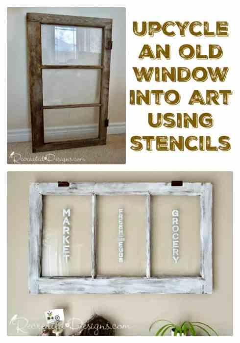 turning a vintage, old window into art using Stencil Revolution stencils
