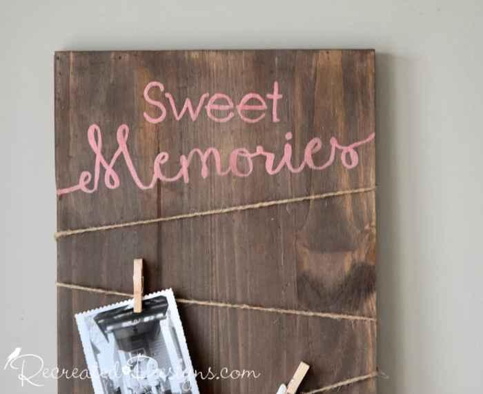 Sweet Memories photo board using Recreated Designs Pattern