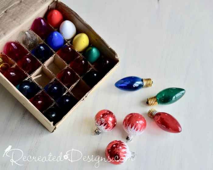vintage Christmas light bulbs and ornaments