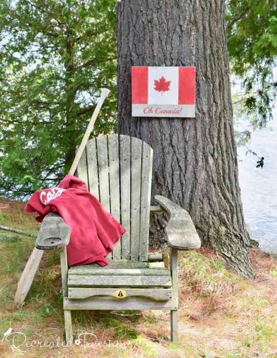 celebrating Canada Day with a hand painted Canada Flag sign using a Recreated Designs Pattern